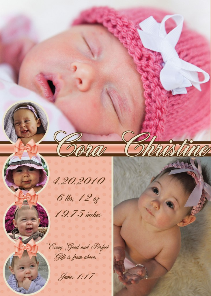 Cora Baby Announcement/Graphic Design